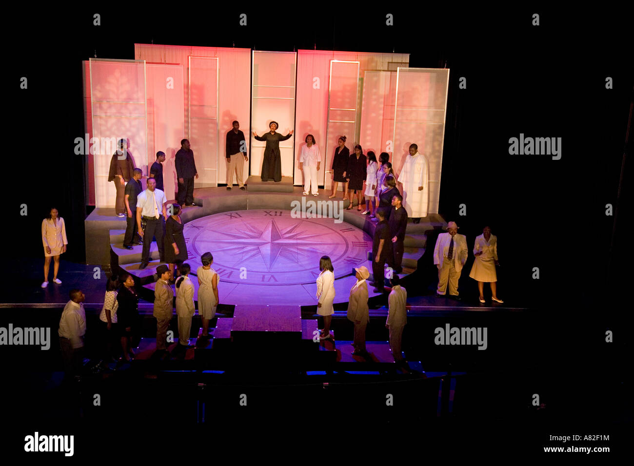 Detroit Michigan Mosaic Youth Theatre s dress rehearsal for its performance of City in a Strait - Stock Image