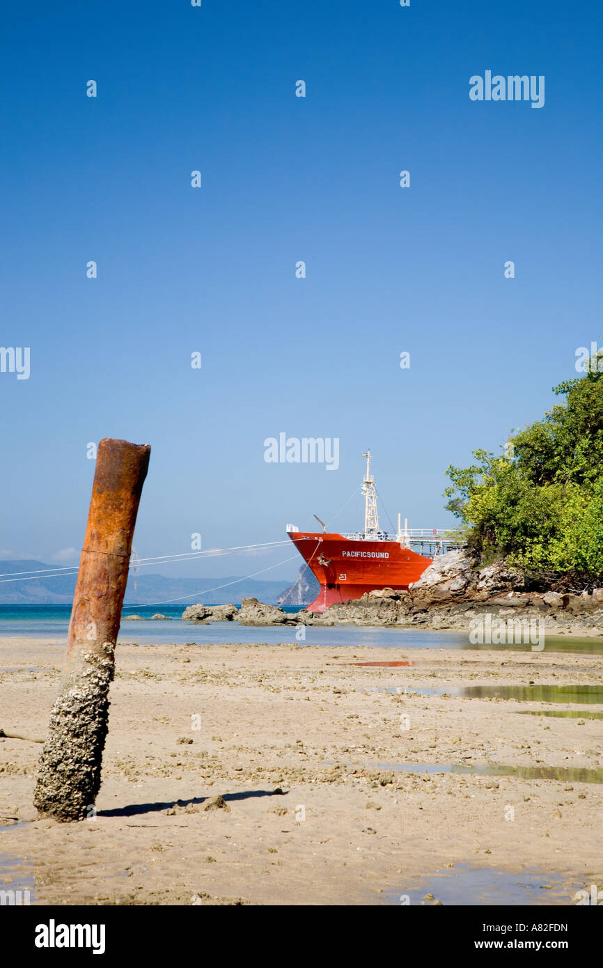 Beach and Port _Limestone or gypsum Ore Carrier Krabi Province Thailand - Stock Image