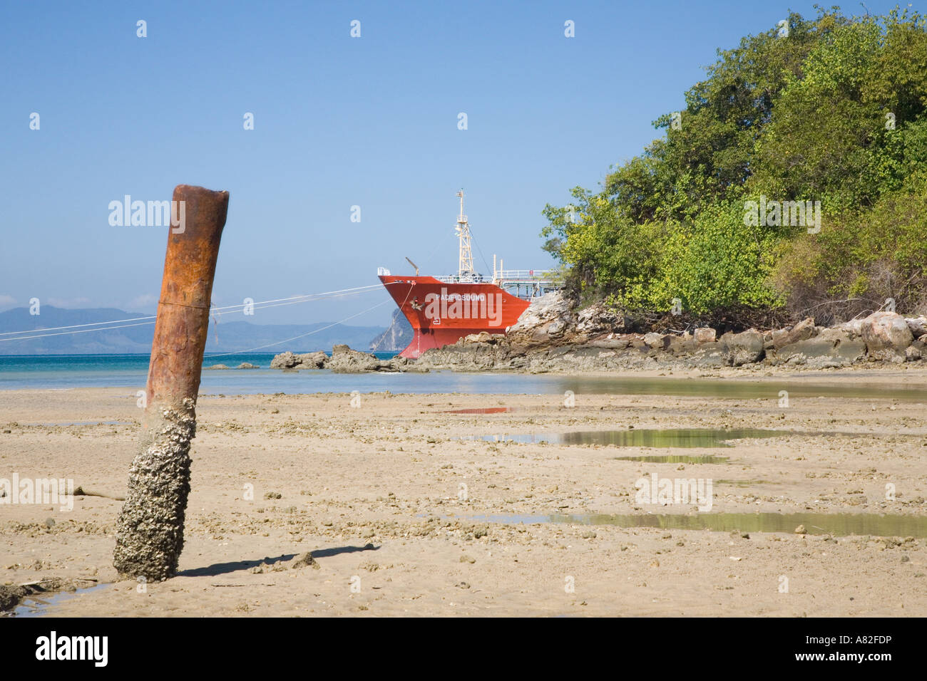 Commercial Limestone or gypsum Ore Carrier ships Krabi, Province, Thailand, Asia - Stock Image