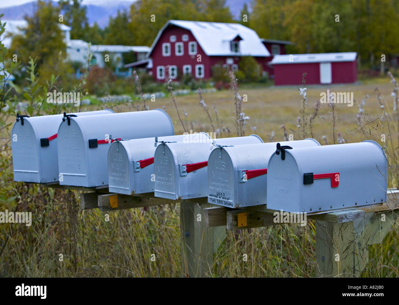 Mailboxes, Palmer, nr. Anchorage, Alaska, USA - Stock Image