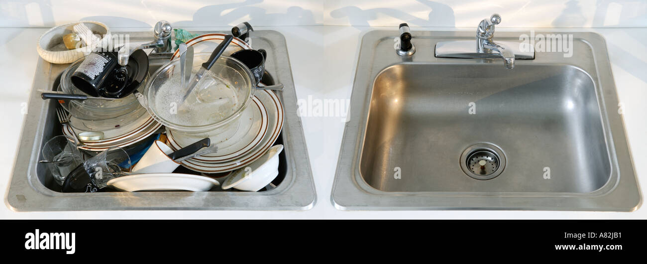 Dirty and clean kitchen sinks next to each other stock photo dirty and clean kitchen sinks next to each other workwithnaturefo