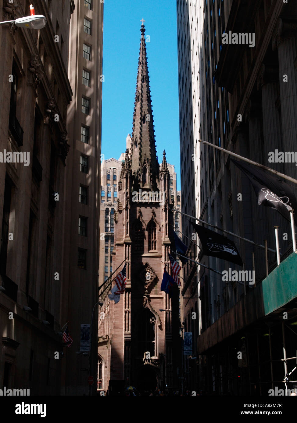 the evangelical church seen from Wall Street - Stock Image
