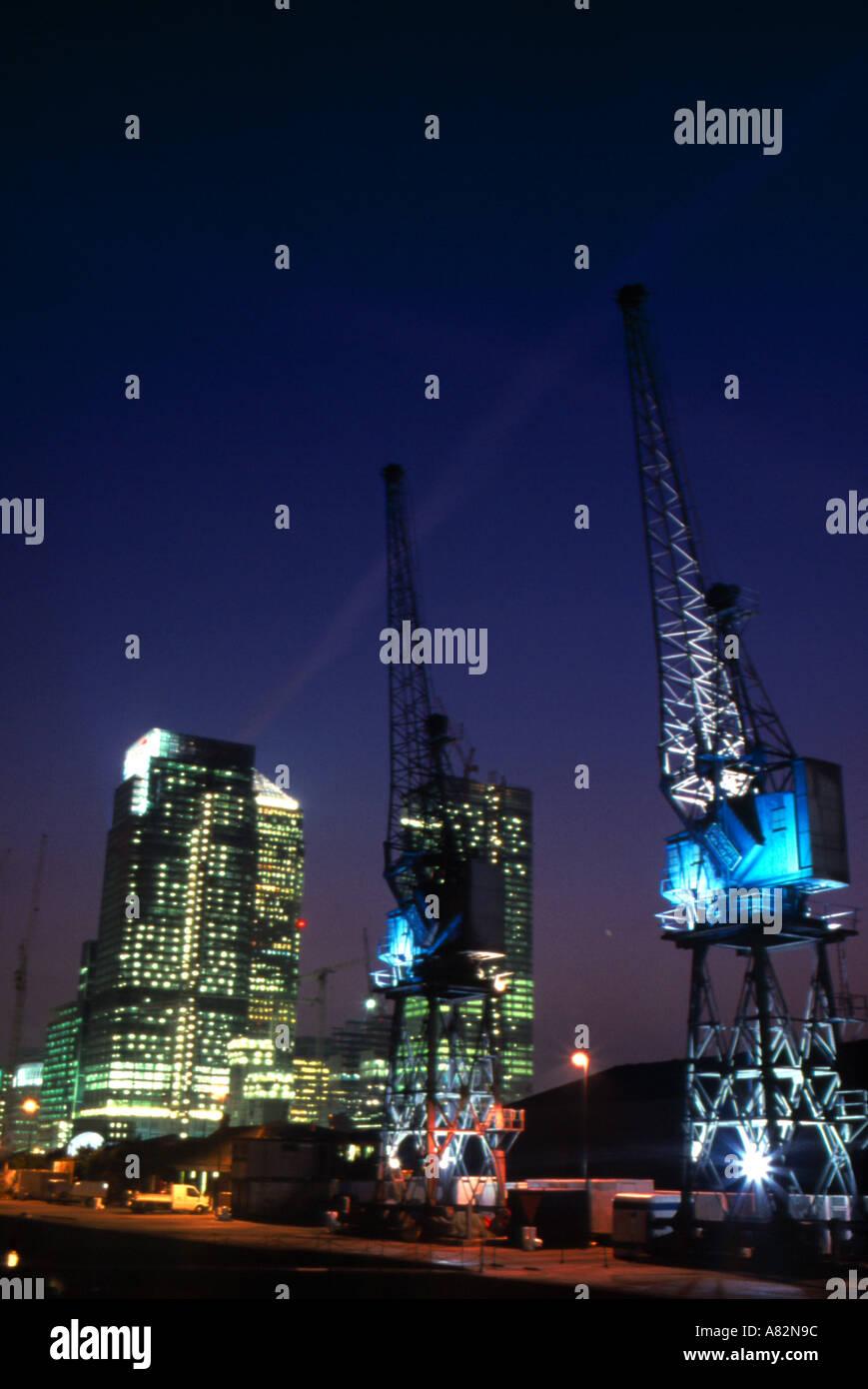 Cranes Docklands London - Stock Image