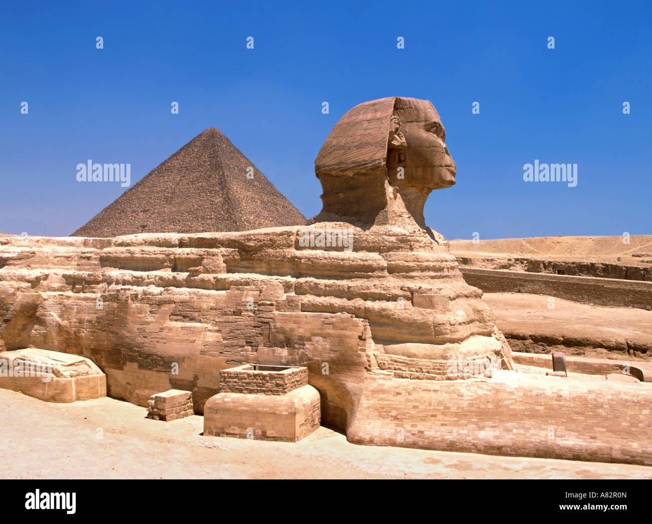 West side view of Sphinx Egypt - Stock Image
