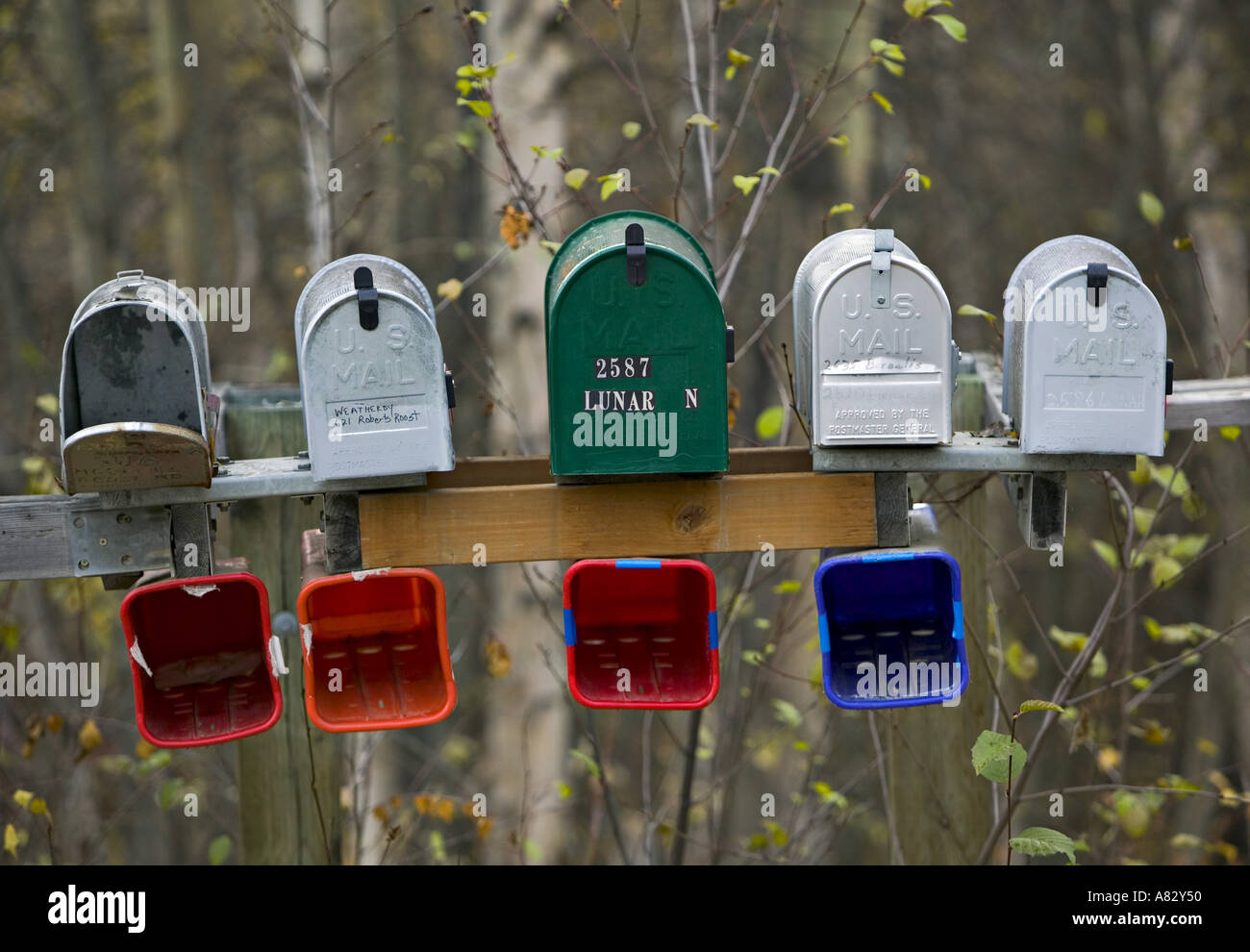 Mailboxes, Alaska, USA - Stock Image