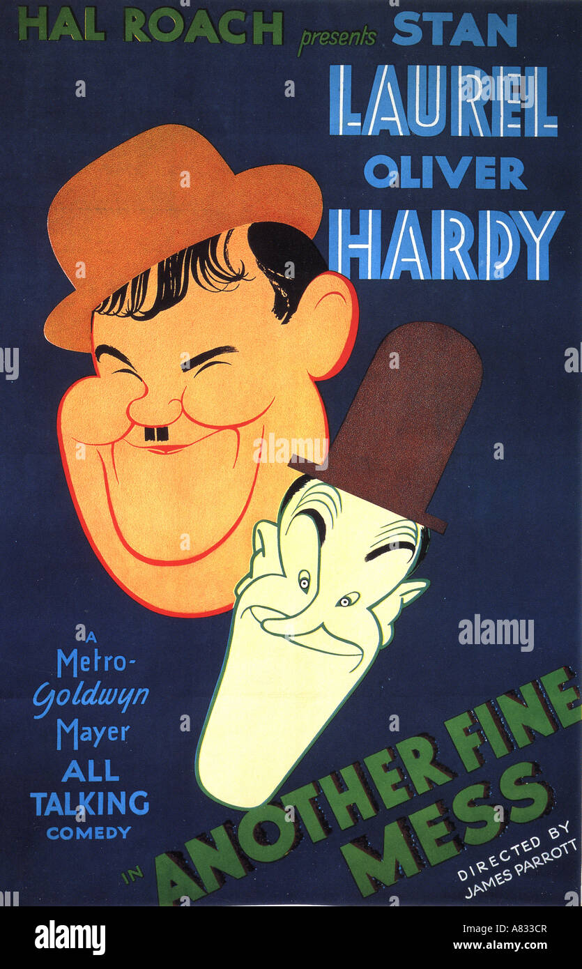 ANOTHER FINE MESS - poster for 1930 Hal Roach film with Stan Laurel and Oliver Hardy - Stock Image