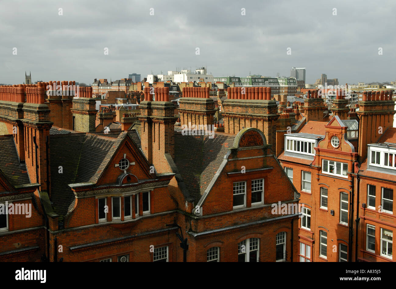 London Skyline Victorian Mansion Block Roof Tops Looking North From Chelsea