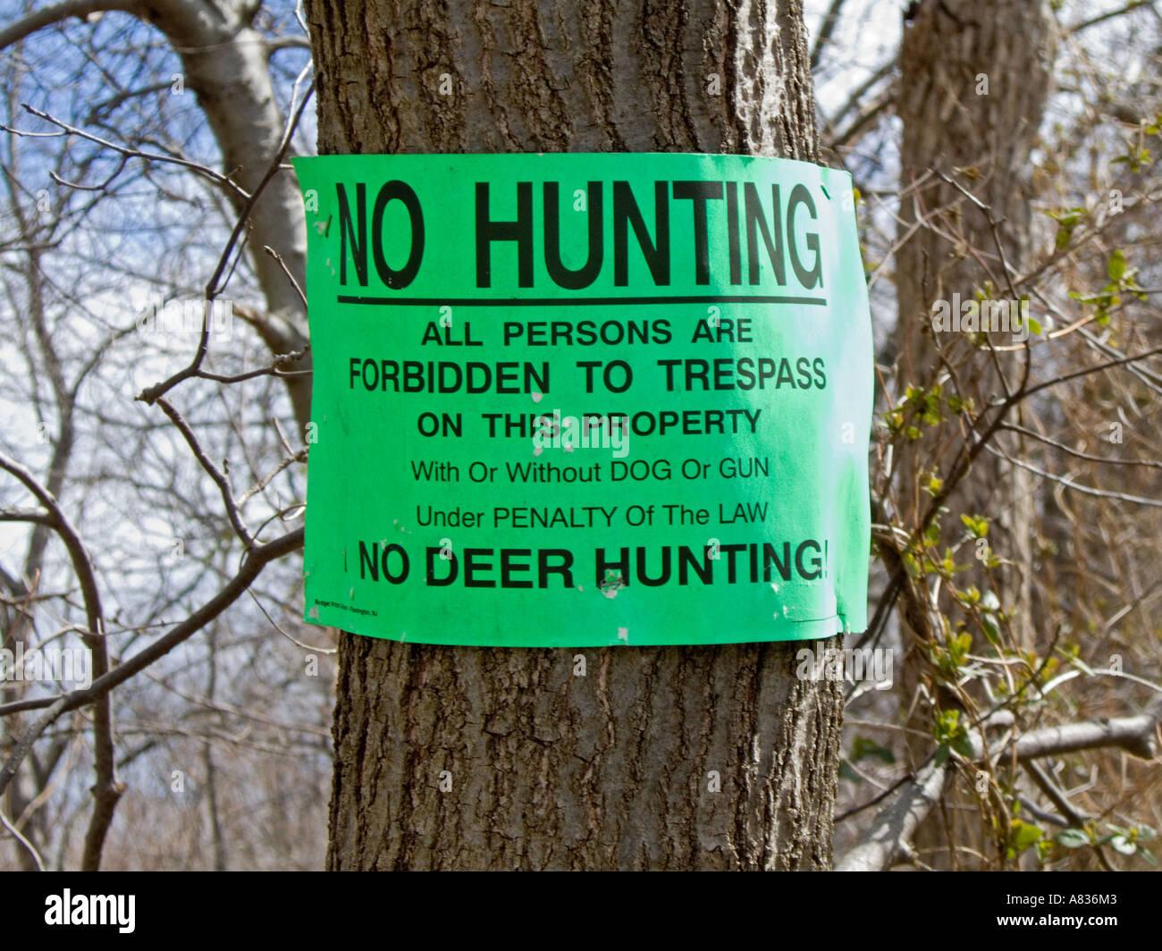 No Hunting Sign Stock Photo