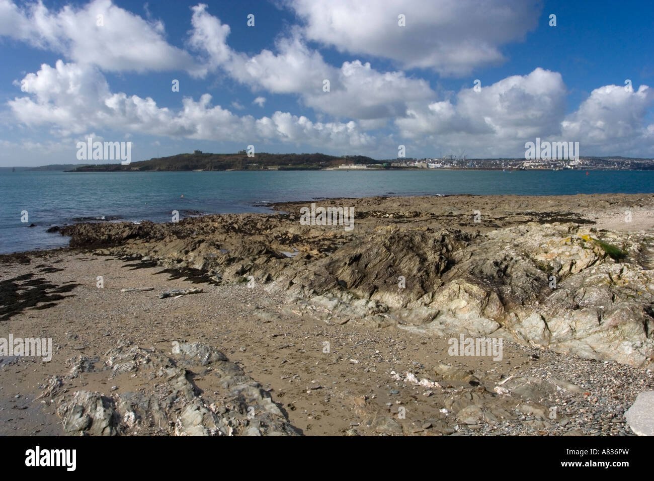 Looking across Carrick Roads to Falmouth from St Mawes Falmouth Harbour is the third largest deep water harbour - Stock Image