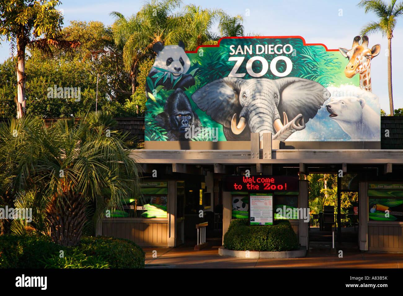 Entrance To The San Diego Zoo Balboa Park San Diego California Stock