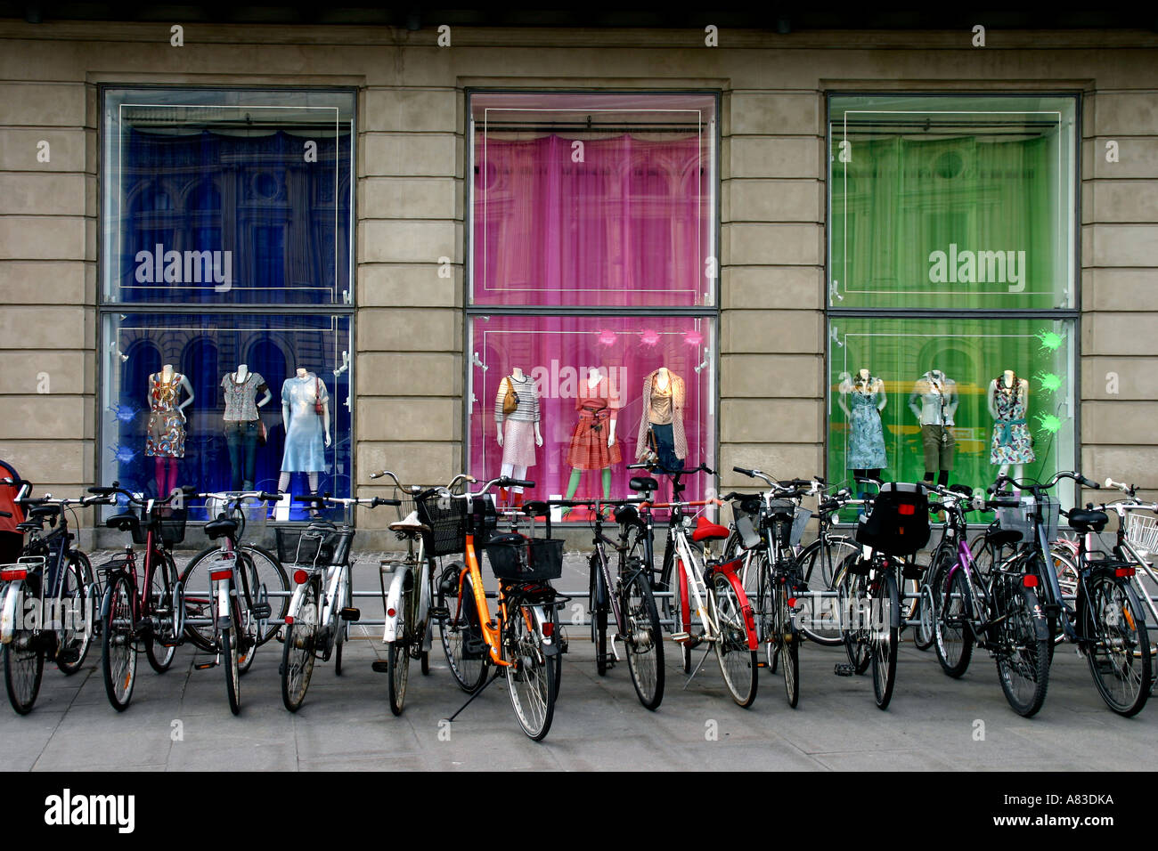 Bicycles parked in Kongens Nytorv The Kings New Square in the centre of Copenhagen Denmark - Stock Image