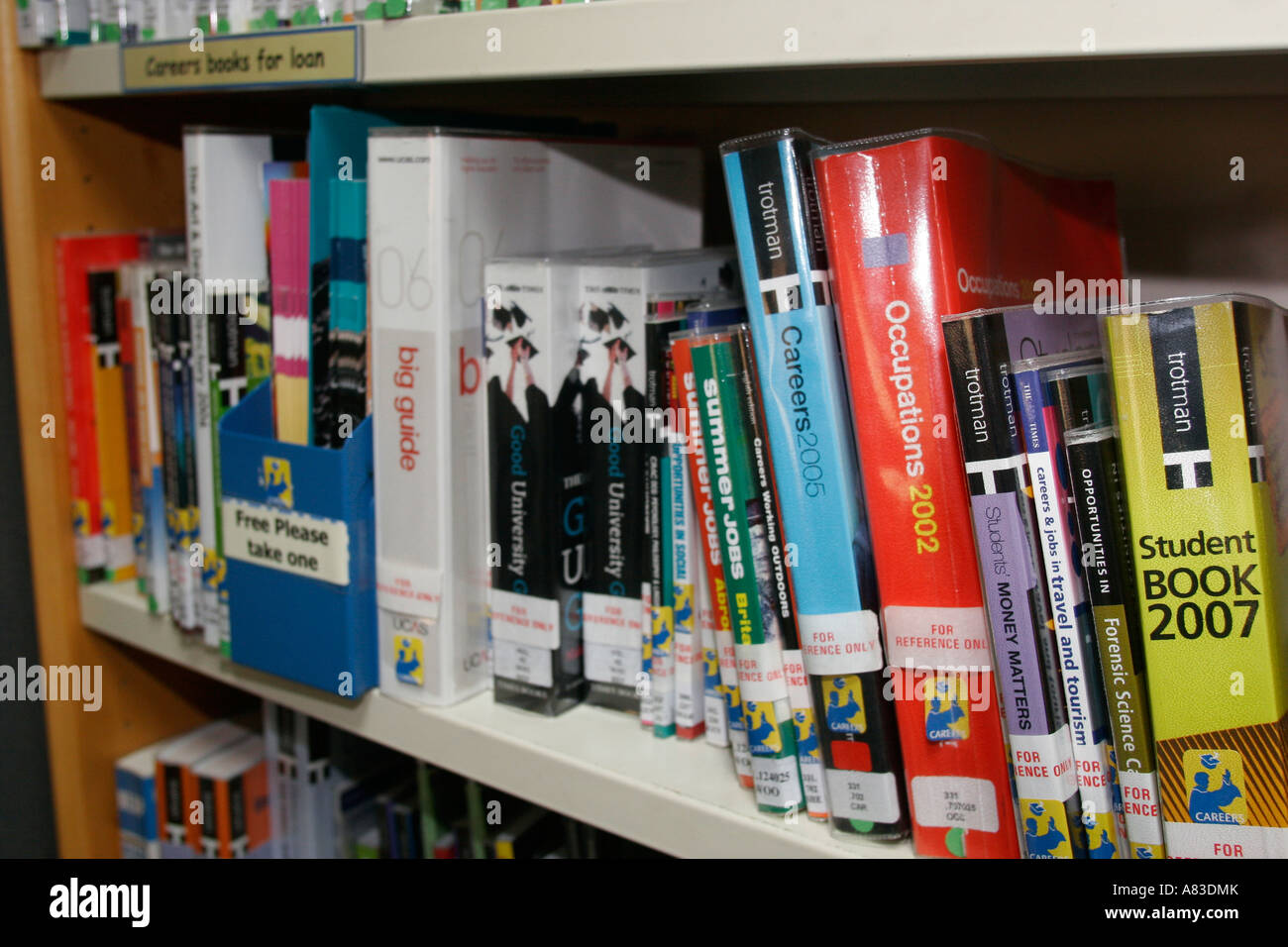 Careers books and literature in college library  at 6th Form College - Stock Image