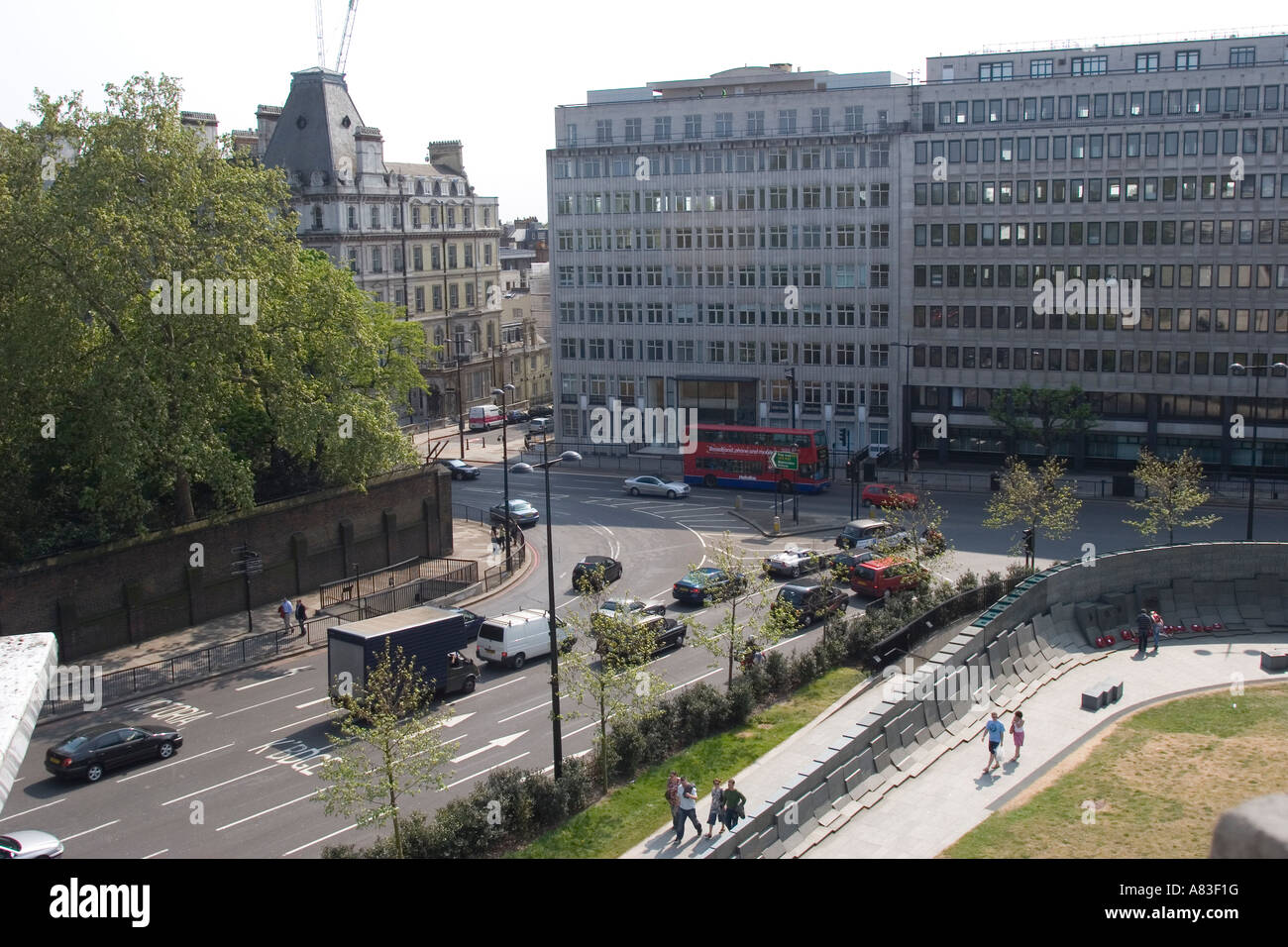View from the top of the Wellington Arch, Hyde Park Corner London GB UK - Stock Image