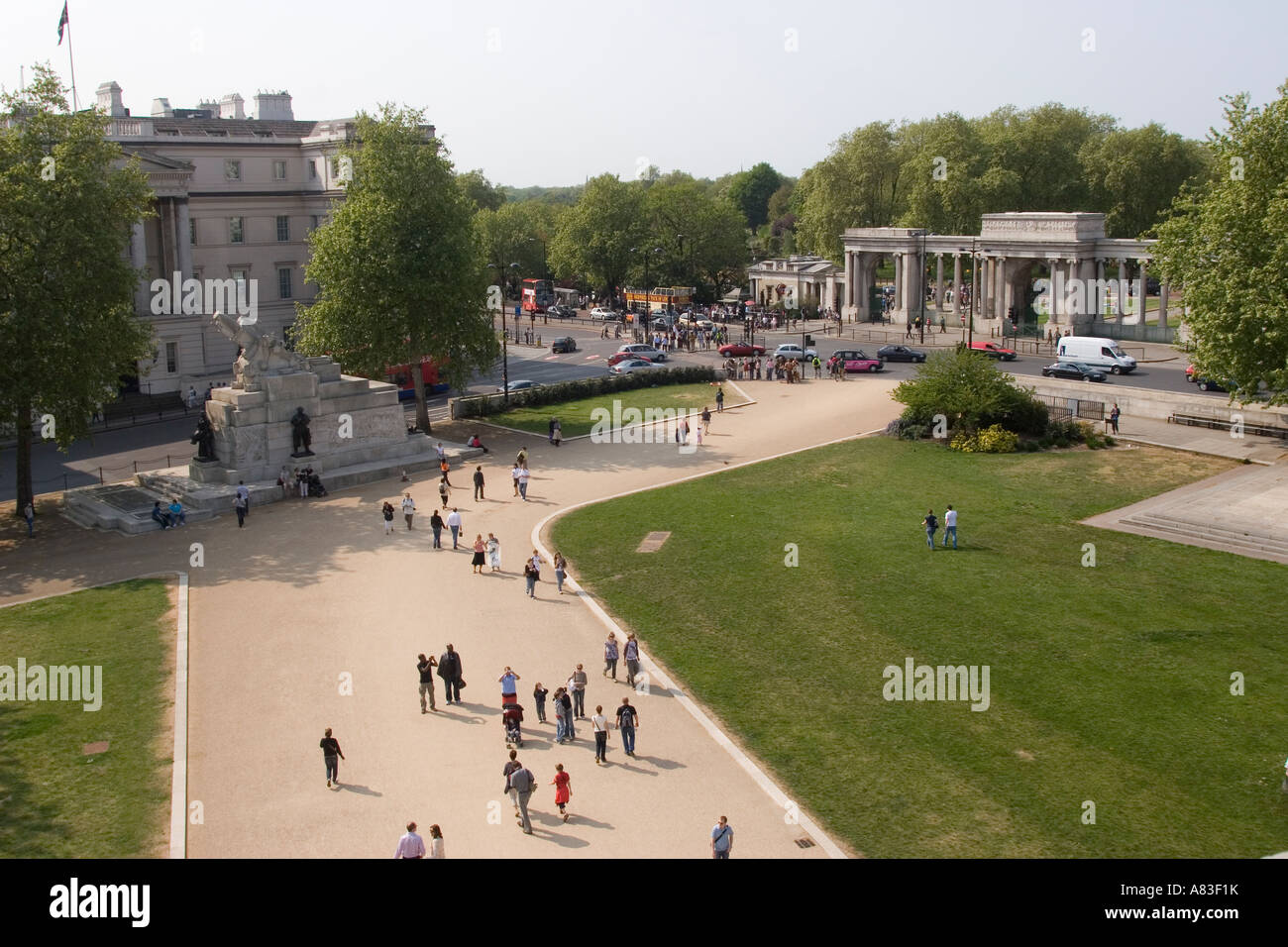 View from the top of the Wellington Arch, Hyde Park Corner, London GB UK - Stock Image
