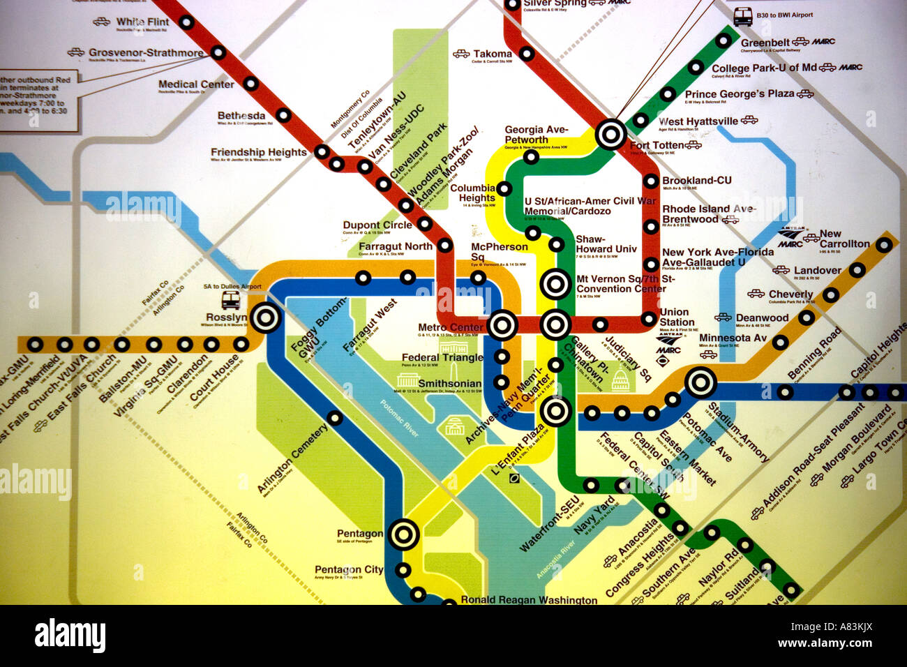 Map of the Metrorail system in Washington D C - Stock Image