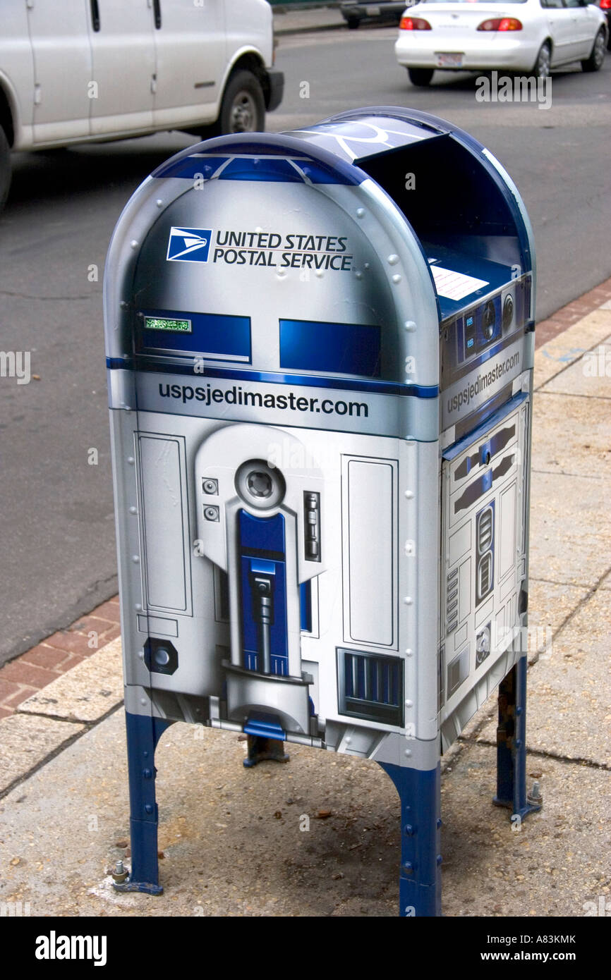 United States Postal Service Letter Box Made To Look Like R2D2 To Promote  The Star Wars