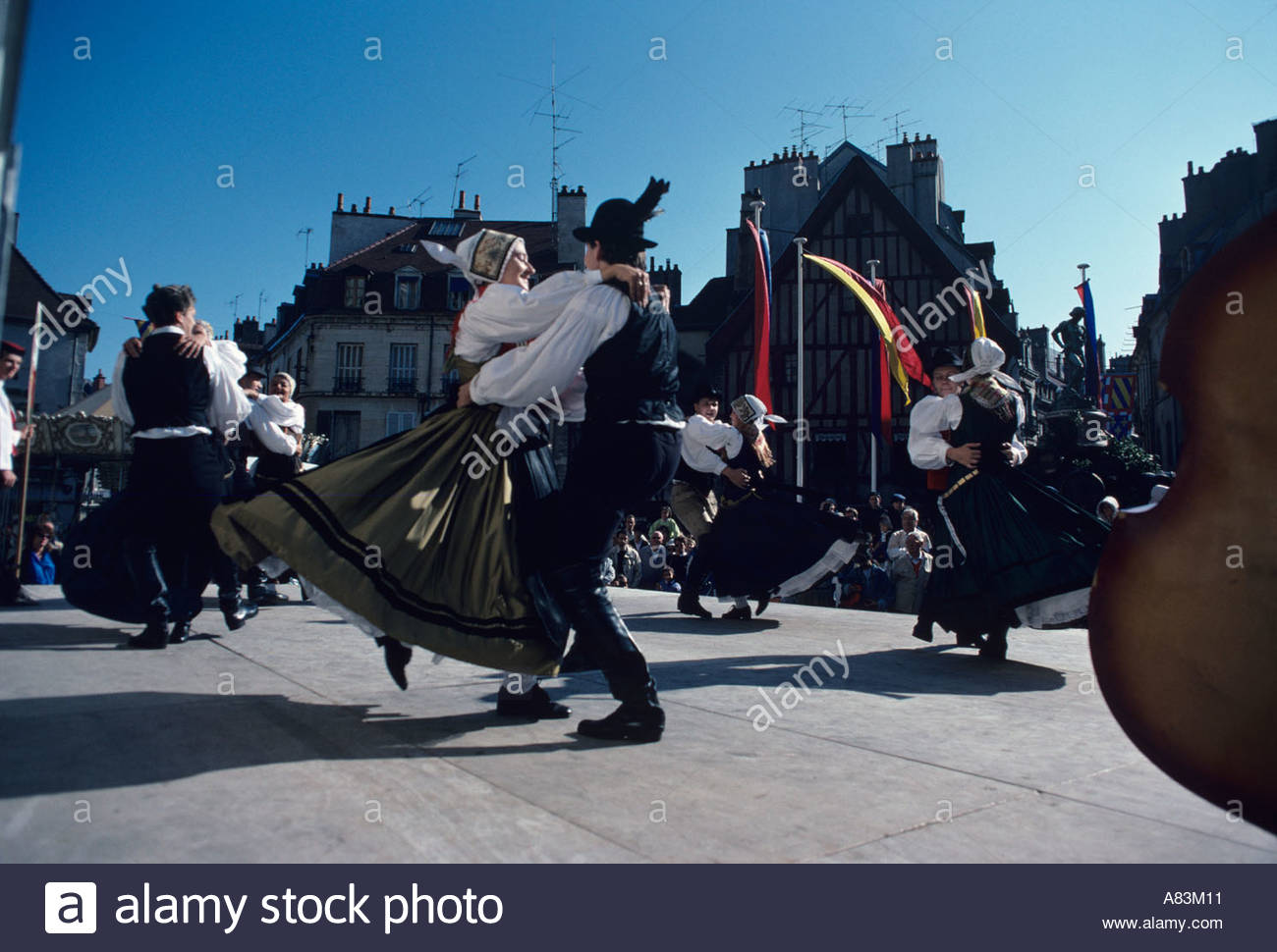 Couples dancing at a wine festival in Dijon, France Stock Photo