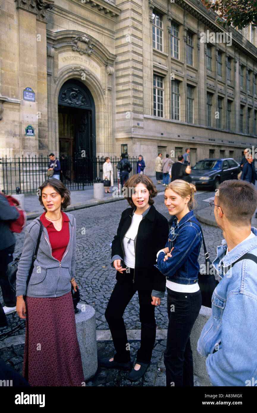 French students socialize outside the Sorbonne in Paris France Stock Photo