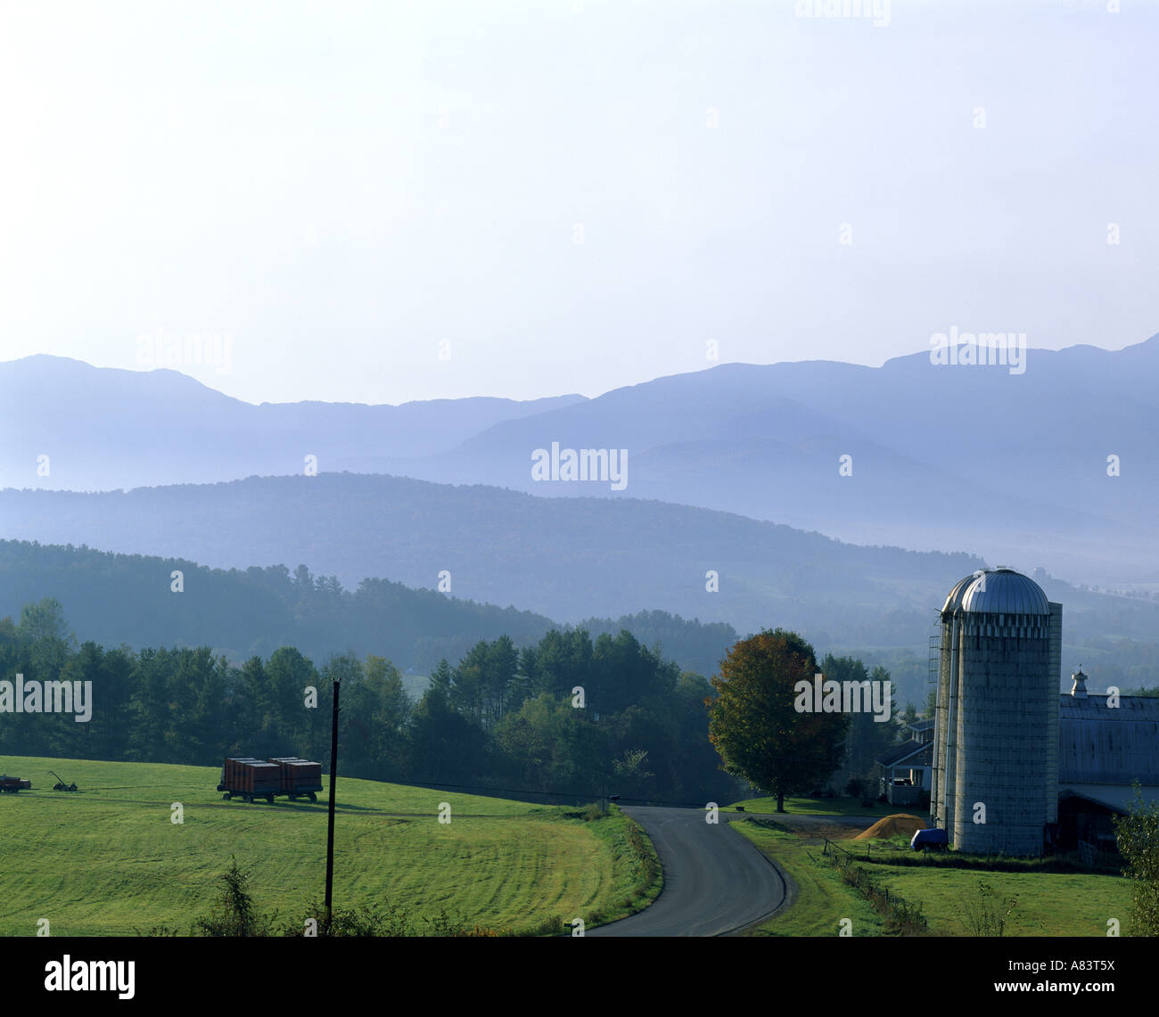 DAIRY FARM IN MORNING WITH MOUNTAINS BACKGROUND FRANKLIN COUNTY NEAR FAIRFIELD VERMONT
