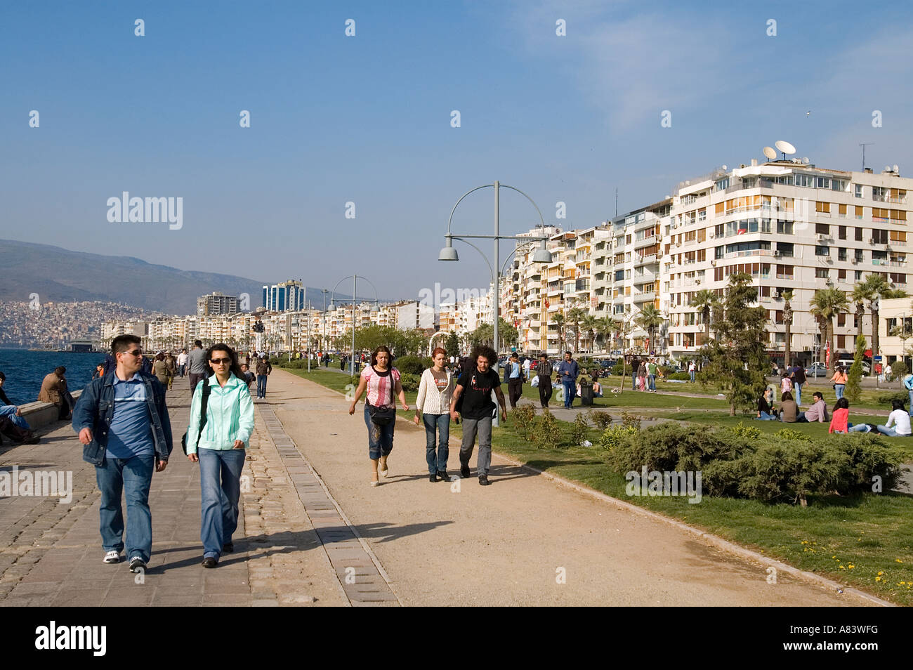 Coastal park and apartments in Kordon Izmir Turkey. - Stock Image