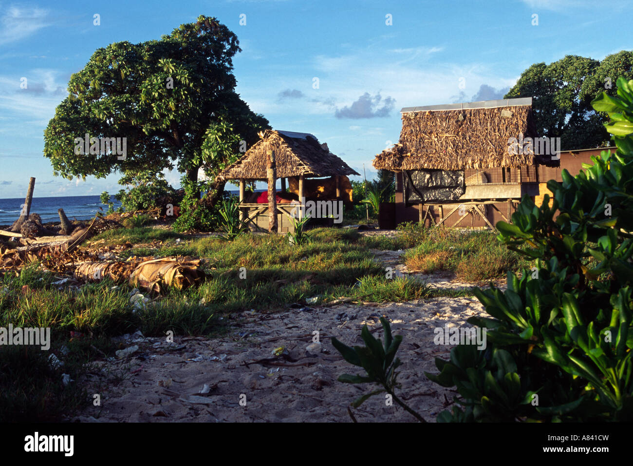 A typical House in Kiribati, South Pacific - Stock Image