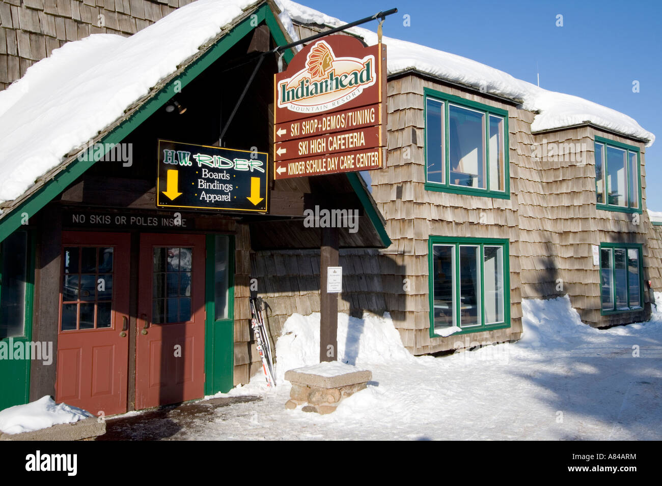 ski shop and cafeteria building. indianhead mountain ski resort