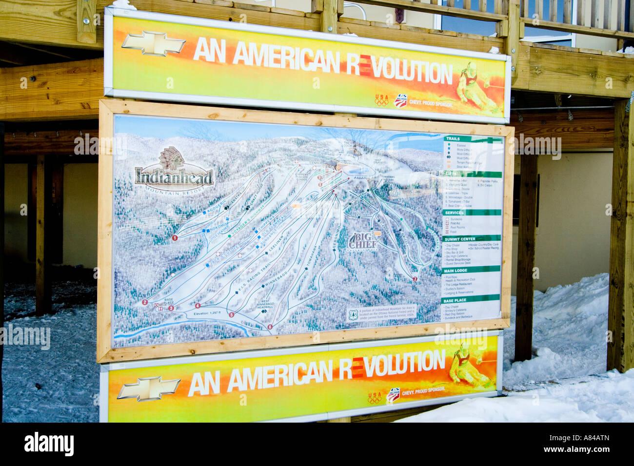Ski Slope Map Indianhead Mountain Ski Resort Wakefield Michigan Usa
