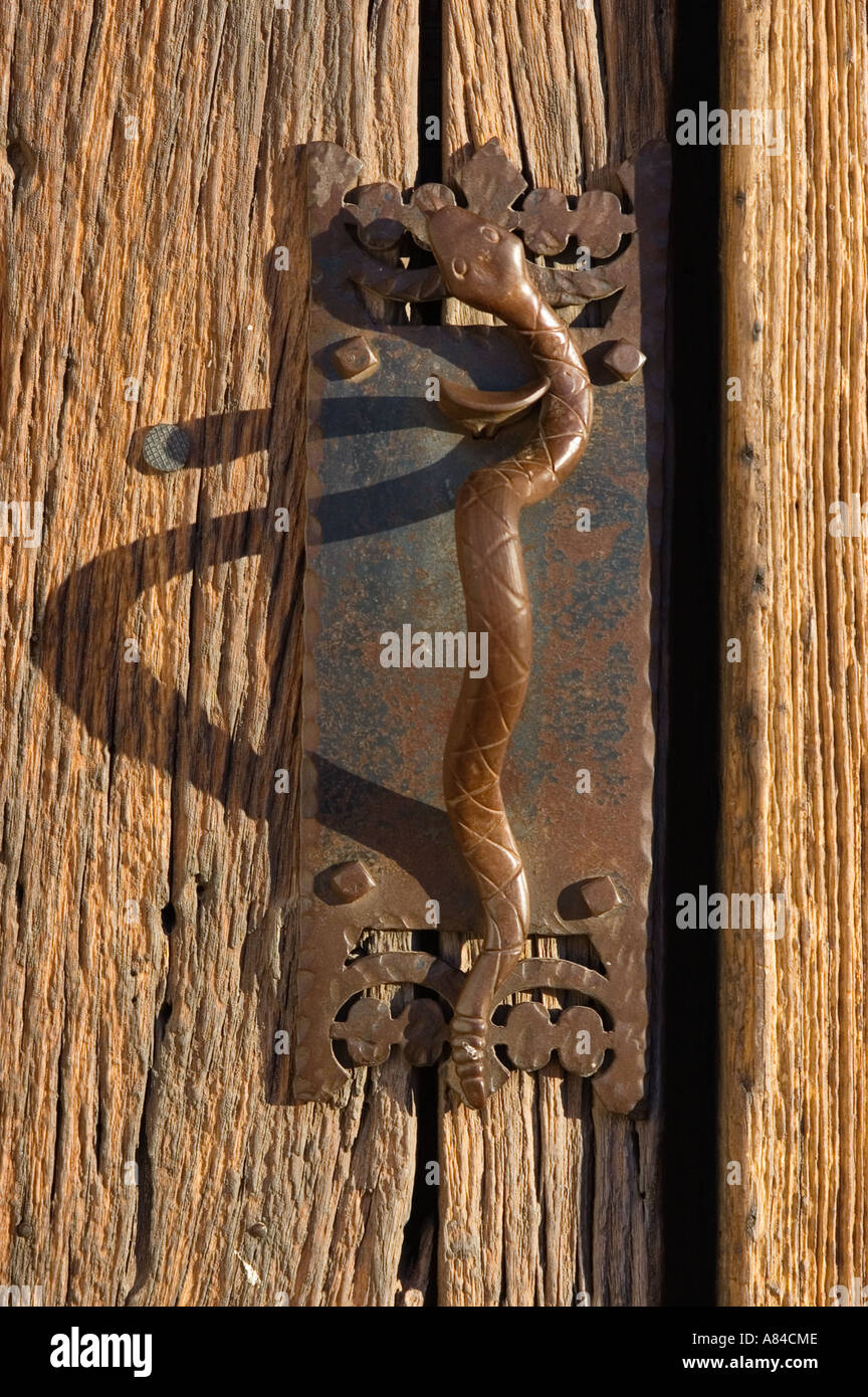 Snake shaped door handle at San Xavier del Bac Mission Tohono O odham Indian Reservation near Tucson Arizona & Snake shaped door handle at San Xavier del Bac Mission Tohono O ...