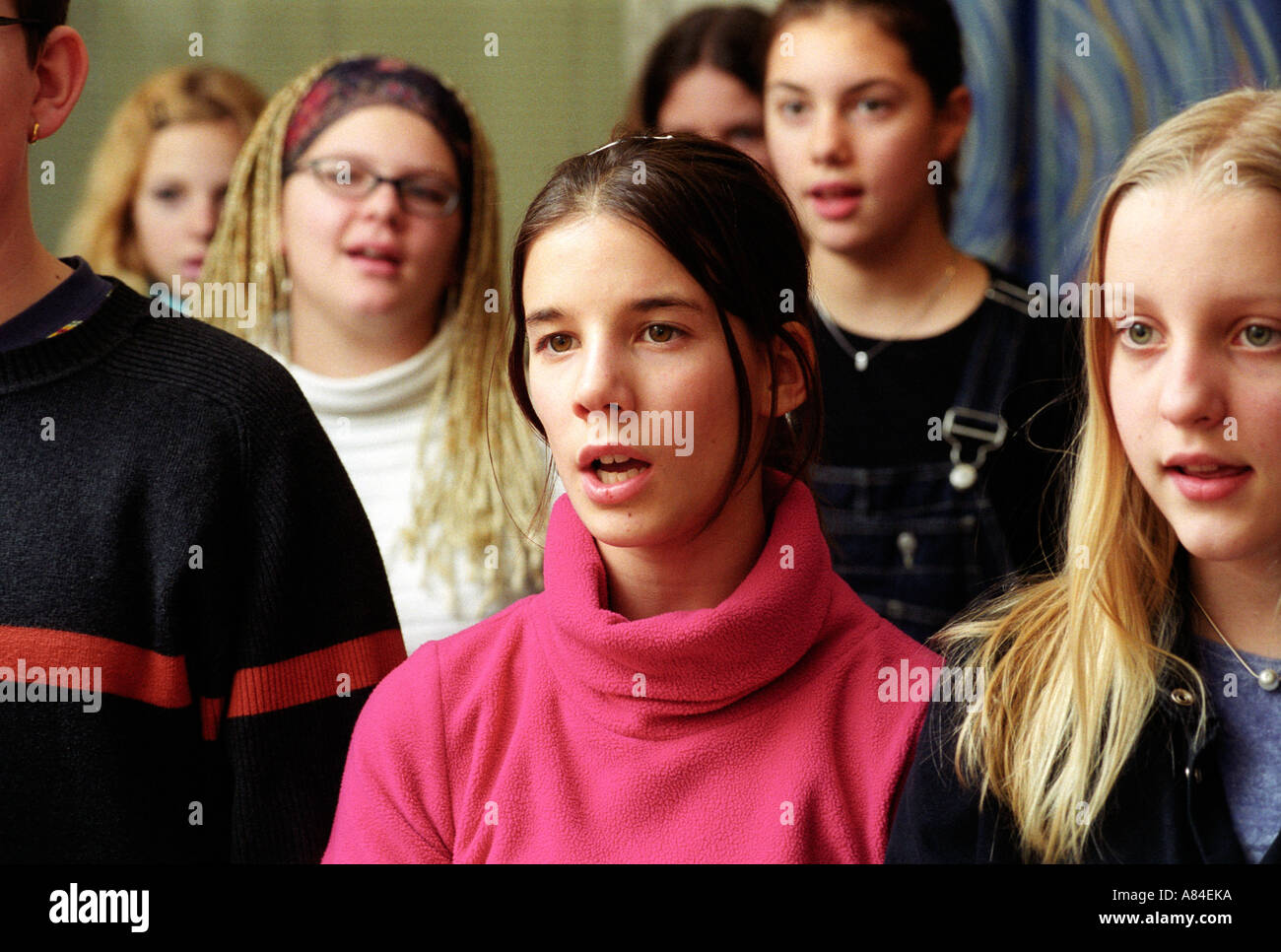 Sweden Örebro Choir practise during a lesson in music - Stock Image