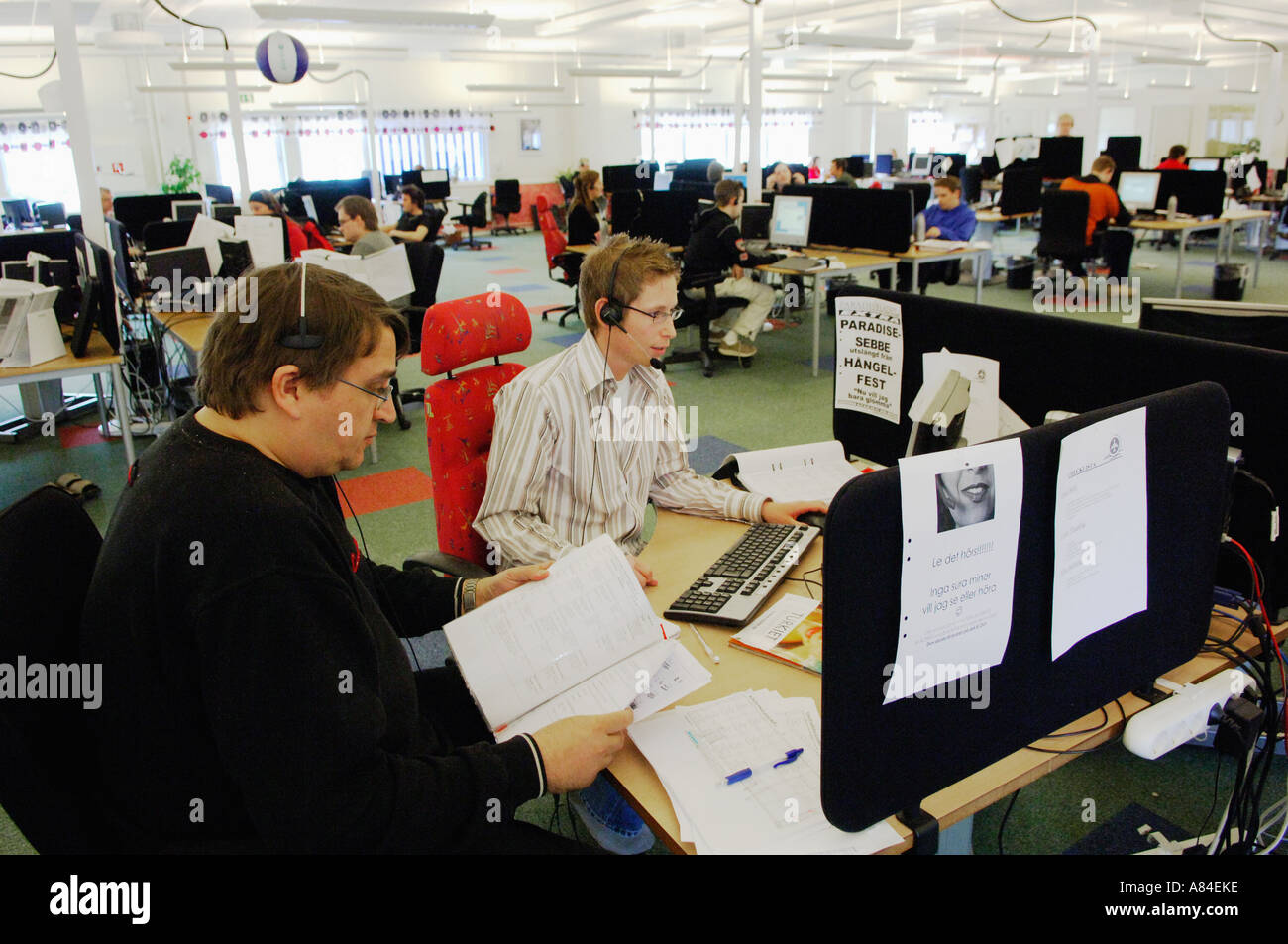 Staff at Call-center in Gällivare, northern Sweden - Stock Image
