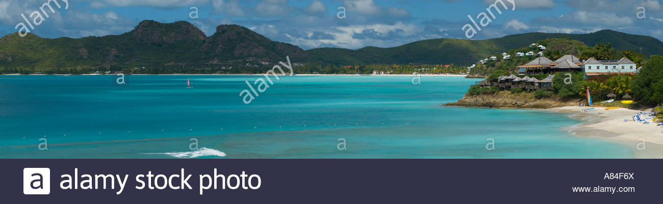 Panoramic view of Jolly Harbour beach, Antigua, Caribbean - Stock Image
