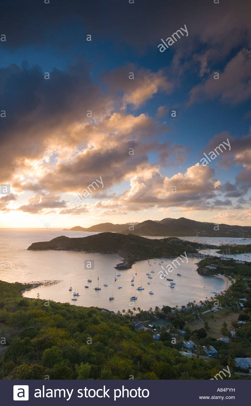 View of English Harbour at sunset from Shirley Heights, Antigua, Leeward Islands, Caribbean - Stock Image
