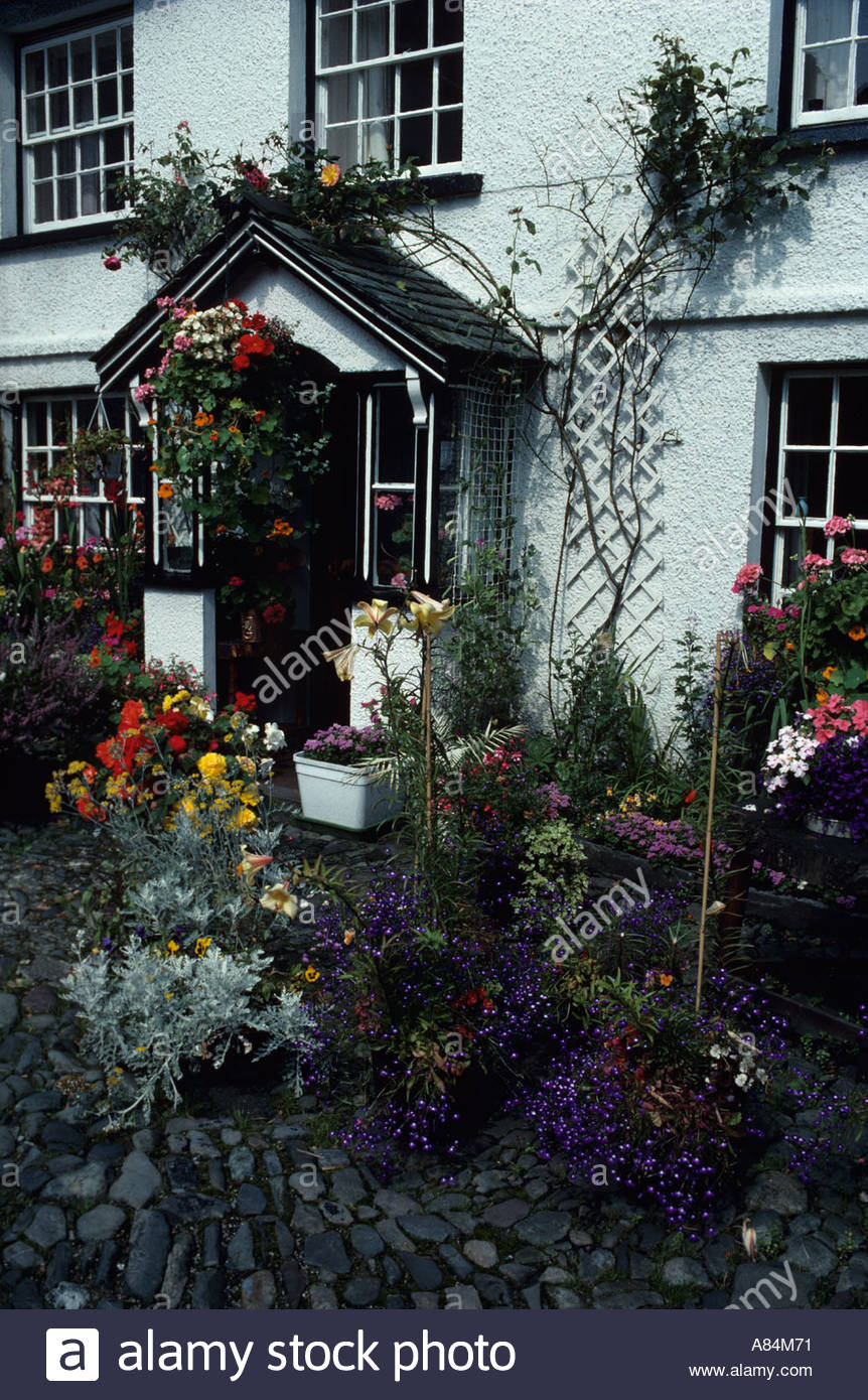 Flowers fill the garden of Beatrix Potter s former home in Near Sawby, UK - Stock Image