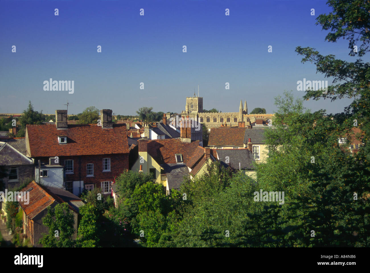 Clare village seen from the castle earthworks Suffolk - Stock Image