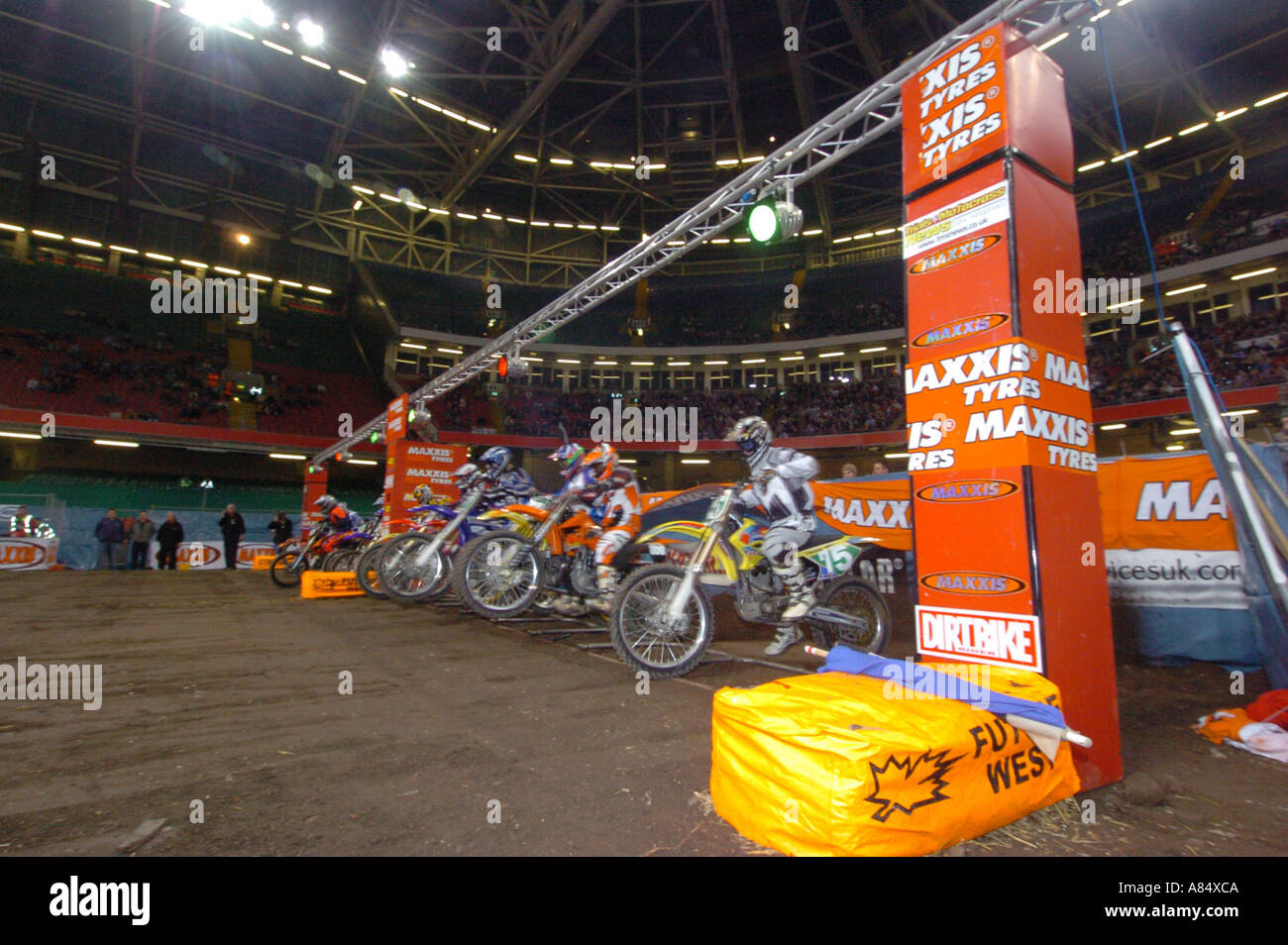 Competitors Start Round four of the Maxxis British Supercross Championship Millennium Stadium Cardiff South Wales - Stock Image