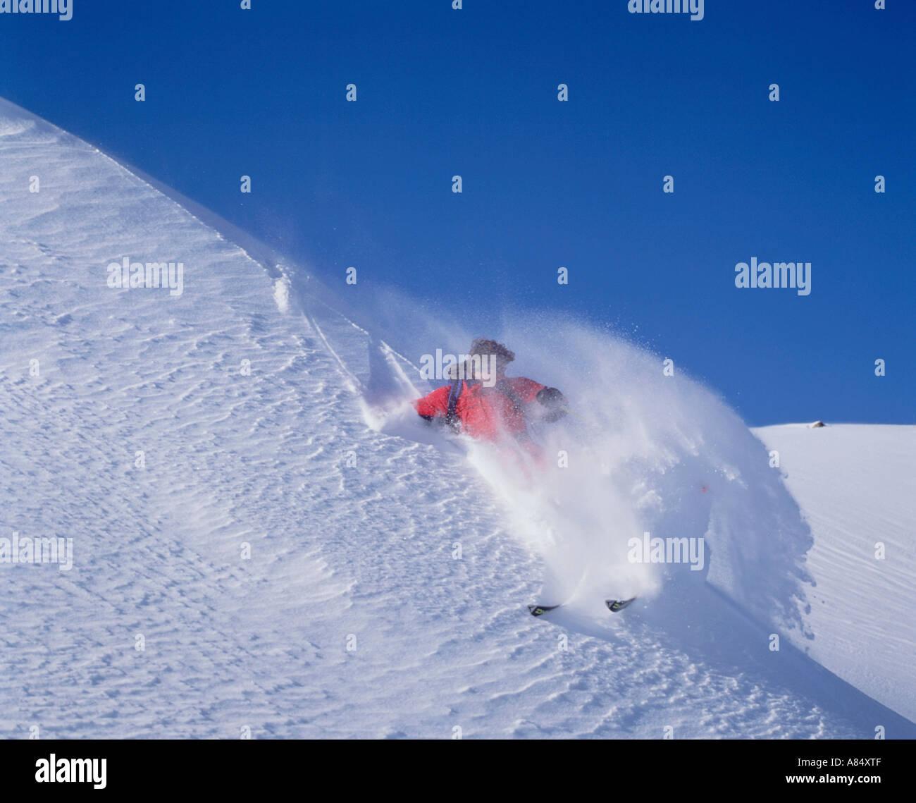Switzerland. Downhill skier in the Alps. - Stock Image