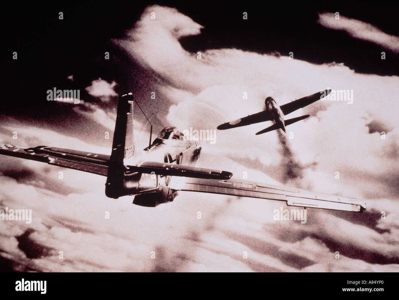 World War 2 air combat. United States of America v Japan. Fighter aircraft. - Stock Image