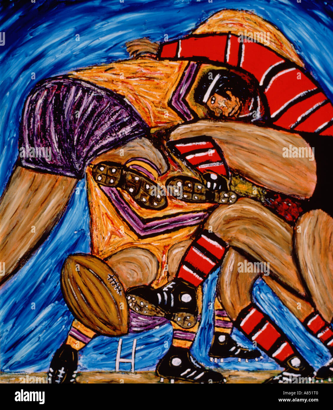 Painting of men in Rugby Football Scrum. - Stock Image