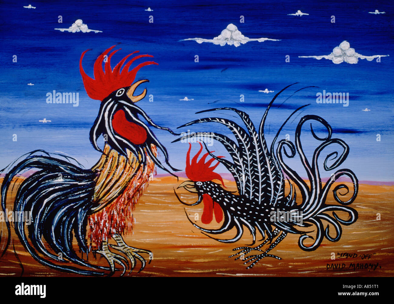 Standoff Painting Of Two Cocks Fighting Outback