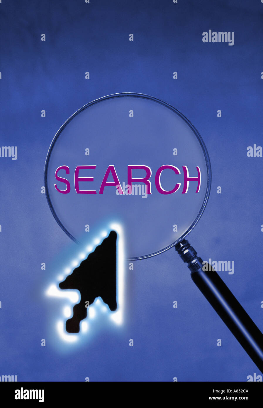 computer arrow cursor with magnifying glass and search command - Stock Image