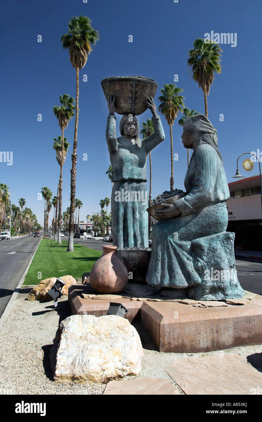 A monument commemorating the native Agua Caliente Indians in Palm Springs California USA - Stock Image