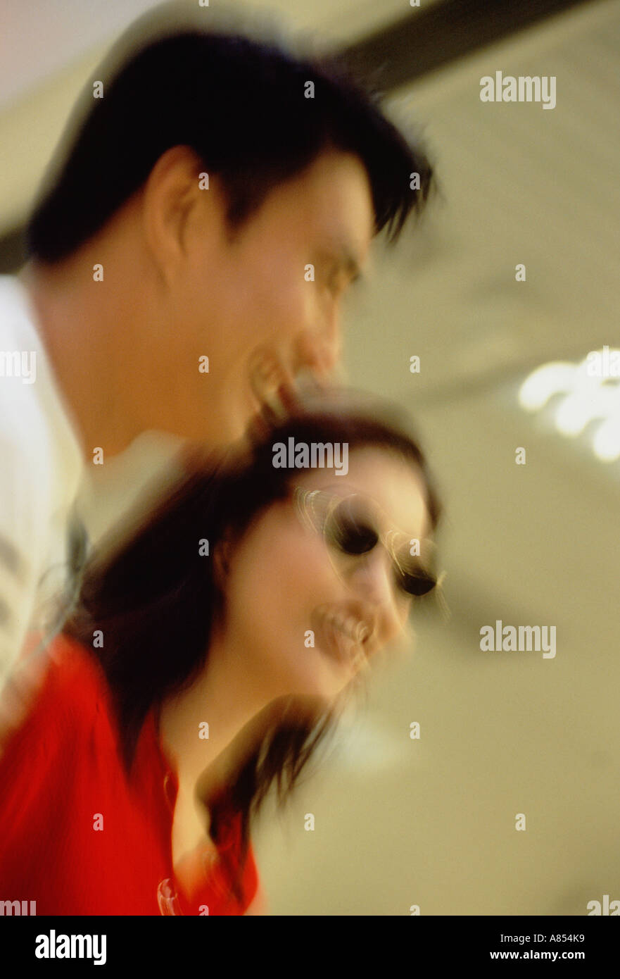 Couple Indoors Motion impression image - Stock Image