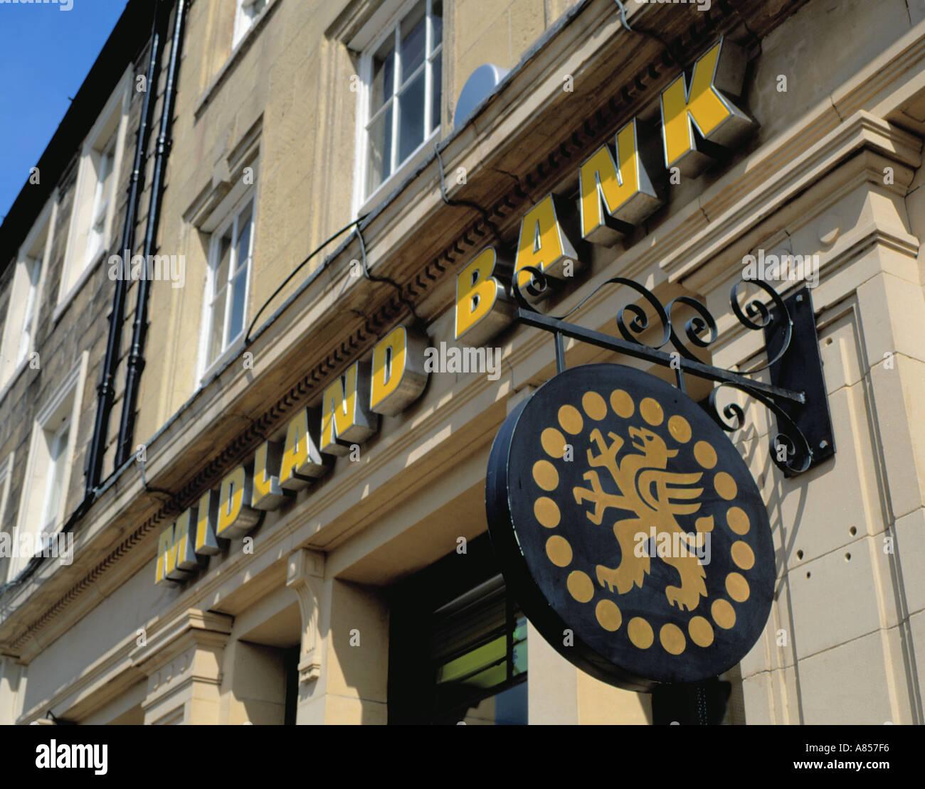 Midland Bank sign / logo / trademark outside a branch office, England, UK. Stock Photo