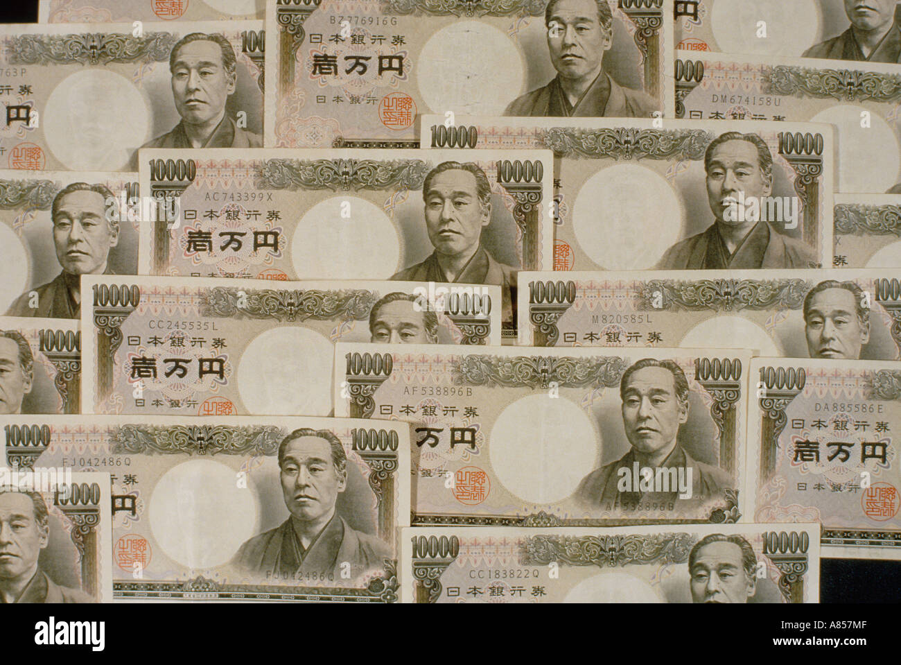Still-life of old Japanese Yen 10,000 notes. - Stock Image