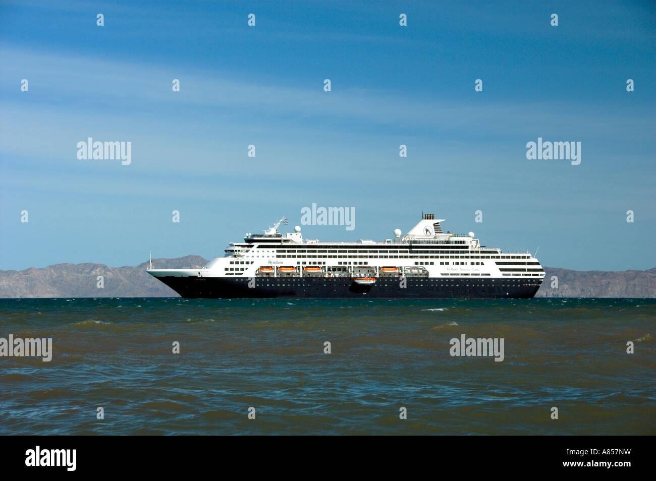 The Holland America cruise ship Ryndam anchored off the coast at the Baja Sur port of Loreto Mexico Stock Photo