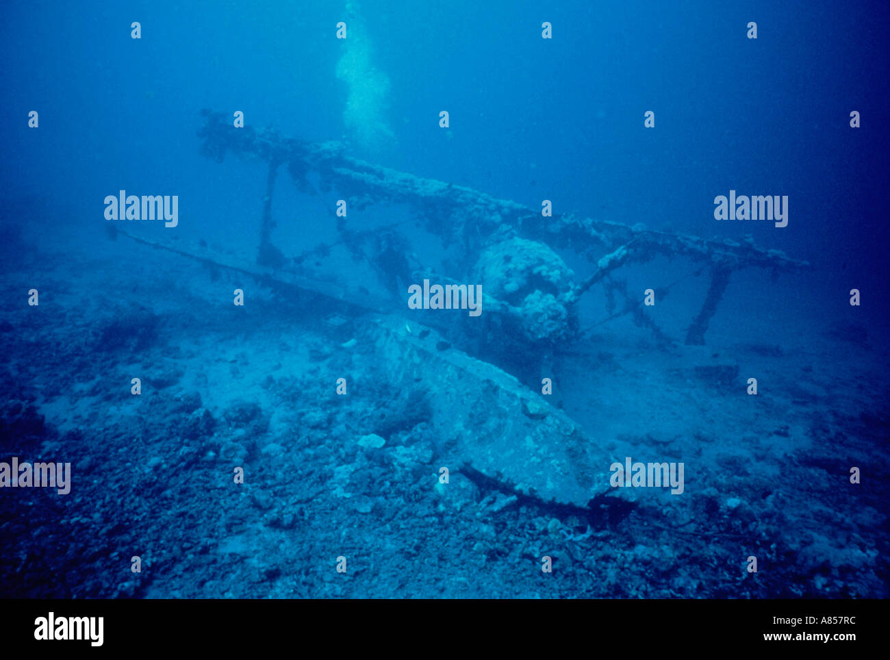 Papua New Guinea. World War 2 underwater memorial. - Stock Image