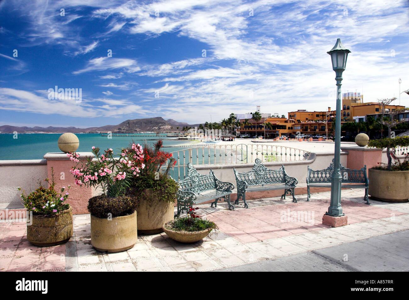 Coastal Sea of Cortez views along the malecon at La Paz, Mexico - Stock Image