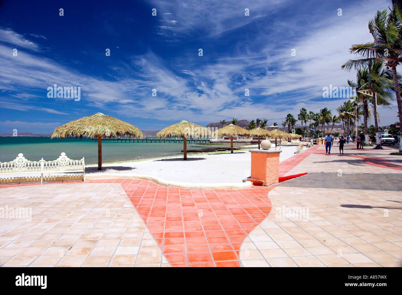 Coastal Sea of Cortez views along the malecon at La Paz Mexico - Stock Image