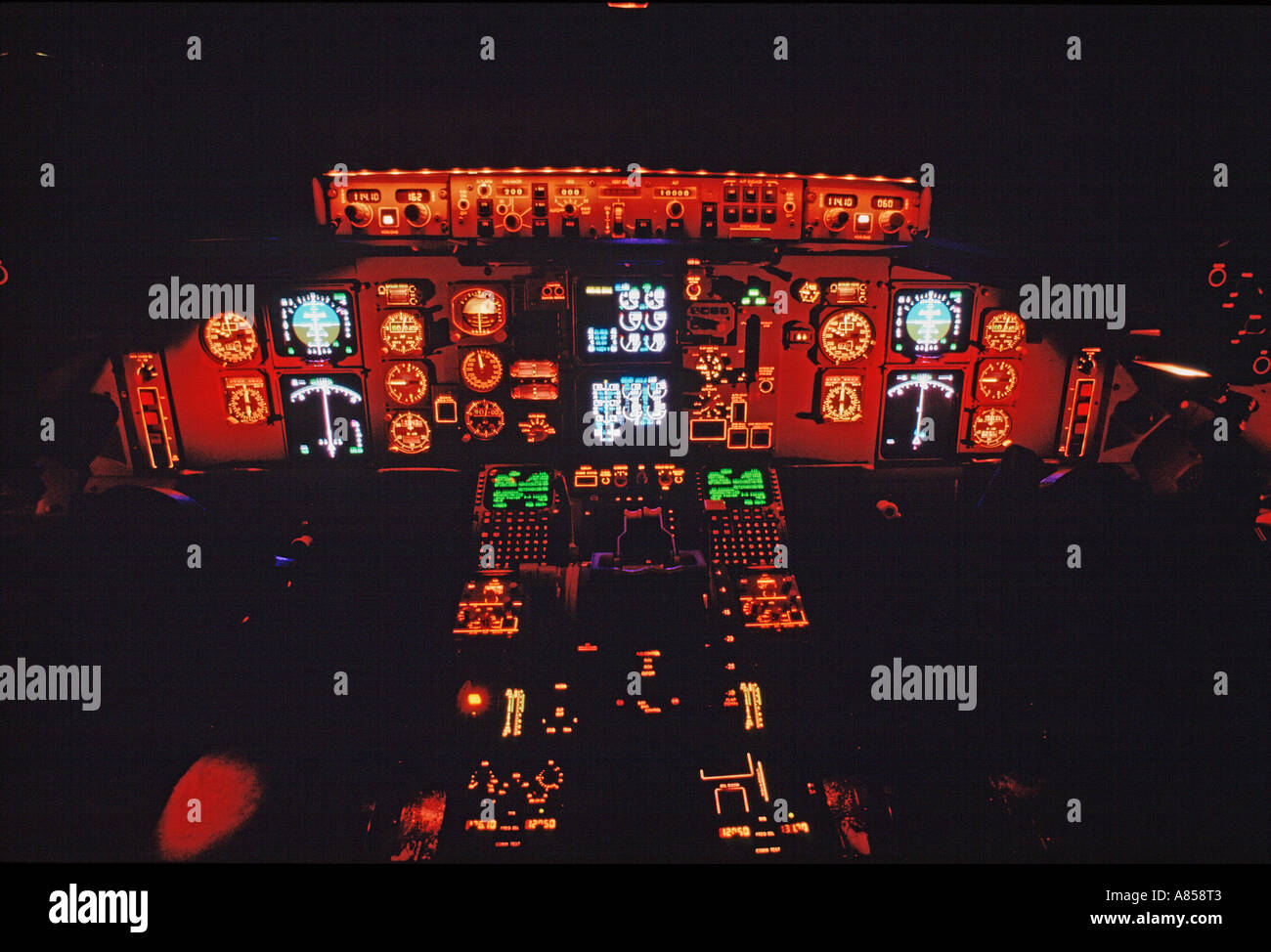 Flight deck simulator of Boeing 767 passenger jet aircraft  Night