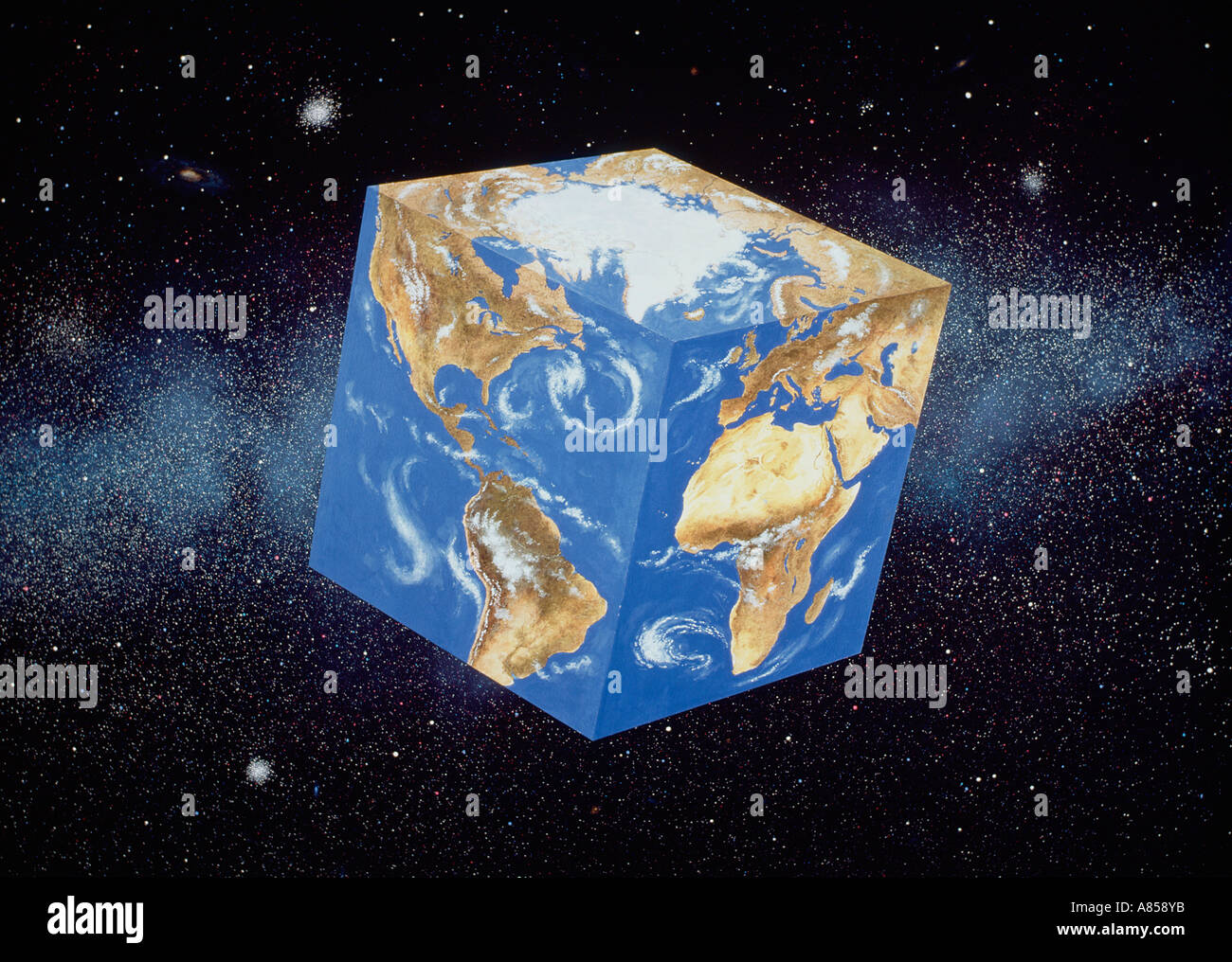Concept image of cubic planet Earth viewed from space. - Stock Image